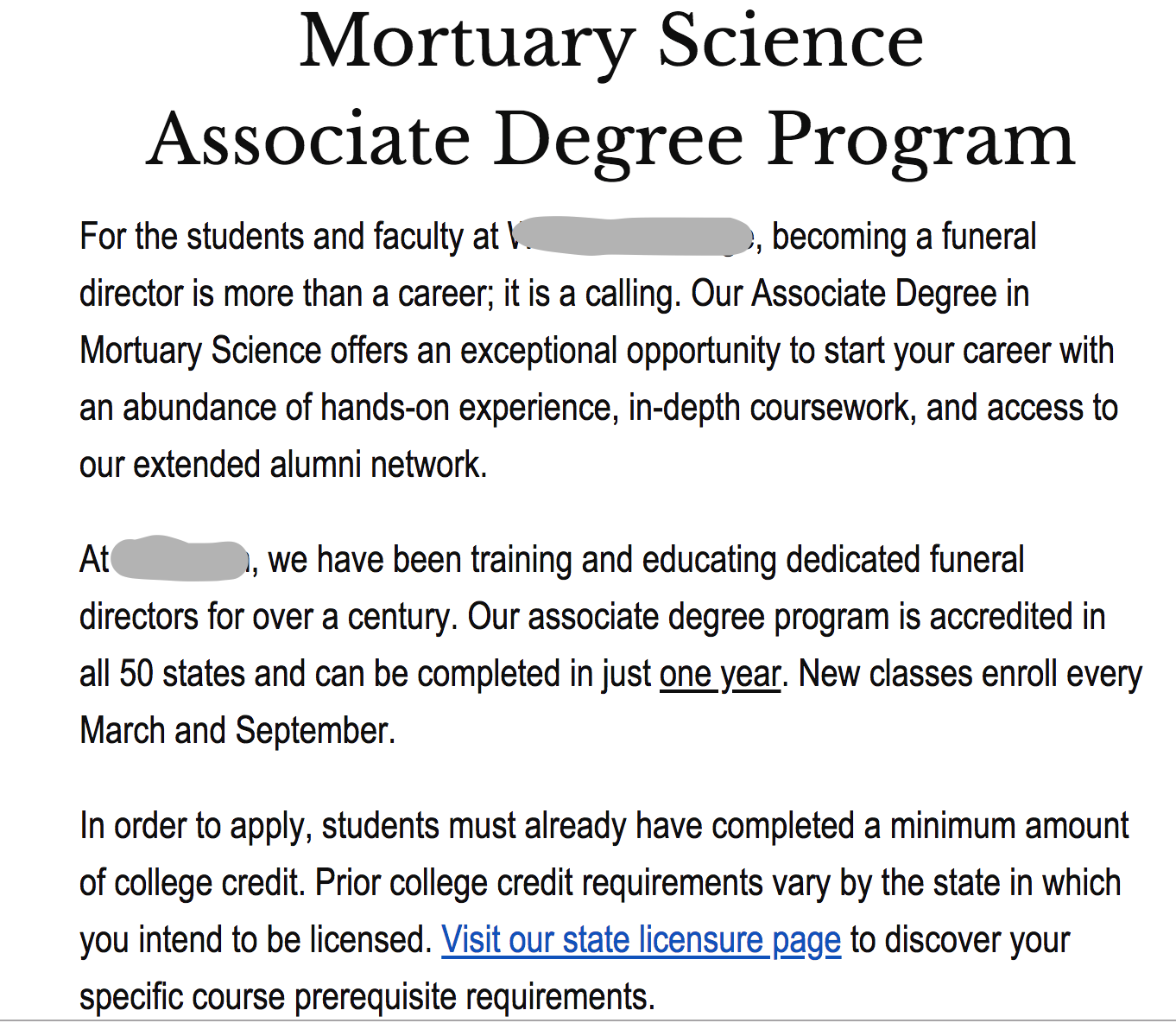 Funeral College Associate Degree
